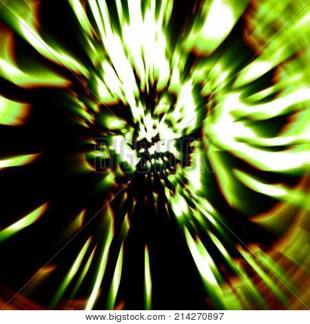 Dreadful head of zombie girl. Illustration in genre of horror. Green color. Abstraction with blur effect.