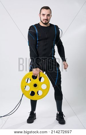 Fitness Man In An Electric Stimulation Suit