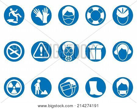 isolated blue work safety round button icons set from white background