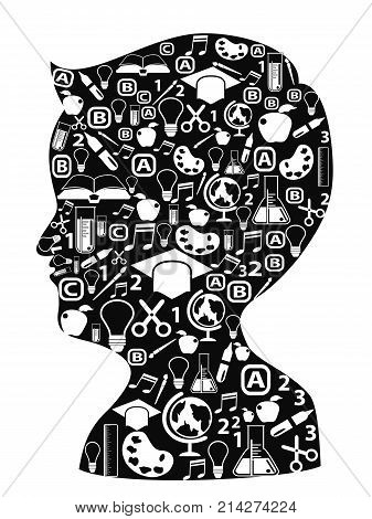 isolated boy head full of creative ideas iocns on white background