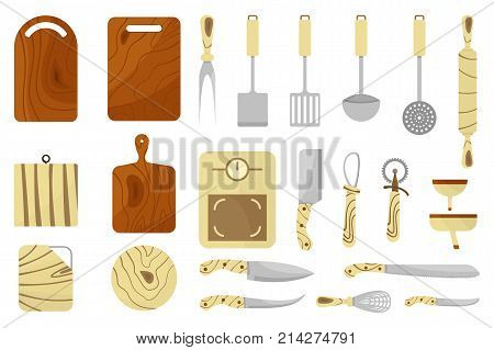 Mega collection of various kitchen utensils. Wooden cutting boards, knives, scale and kitchen tool icons