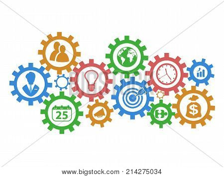 isolated business mechanism gears background on white background