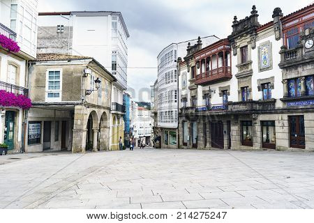 Betanzos, Galicia, Spain. July 30, 2017: Street With Stone Floor And Old Stone Buildings With Very C