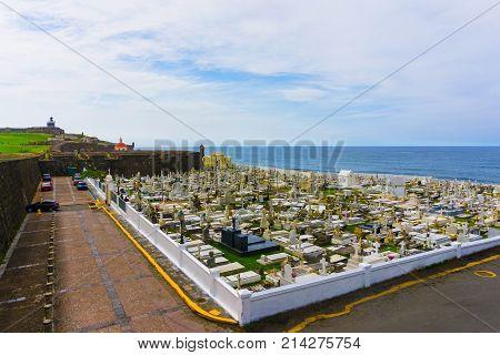 San Juan, Puerto Rico - May 08, 2016: The old Cemetery at San Juan at Puerto Rico and view of the ocean
