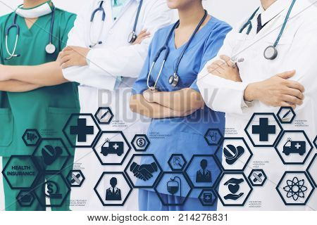Health Insurance Concept - Doctor in hospital with health insurance related icons in modern graphic interface showing symbol of healthcare person money saving medical treatment and benefits.