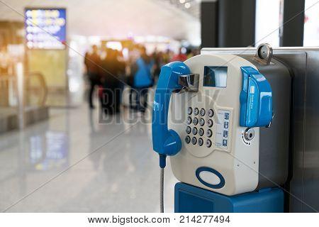 Public Payphone Telephone Inside The International Airport. Public Telephone Corner For Passenger Or