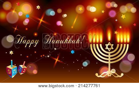 Happy Hanukkah Holiday greeting poster with donuts - traditional cake, dreidel spinning top, candles with fire flame, candelabrum, bokeh abstract background, defocus lights effect, Festival of lights Israel. Jewish Holiday