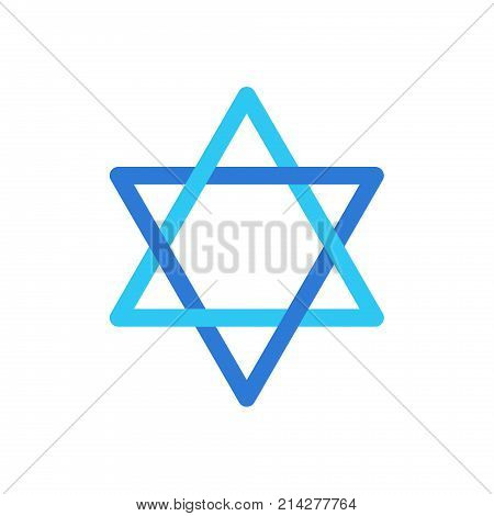 Star of David Israel symbol isolated on white background, David's star Jewish sign flag logo concept, star sticker icon vector illustration Israel star label blue color. Jewish Holiday Israeli logo concept, card.