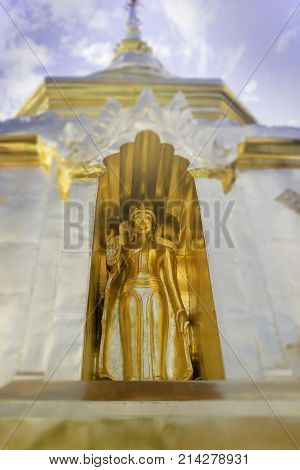 Buddha S tatue in Phra Singh Temple Chiang Mai Thailand stock photo