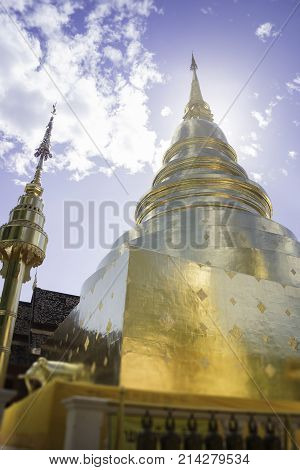 Wat Phra Singh Temple Chiang Mai Thailand stock photo