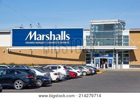 MONTREAL CANADA - NOVEMBER 7 2017: Marshals store and walking people. Marshalls is a chain of American and Canadian off-price department stores owned by TJX Companies.
