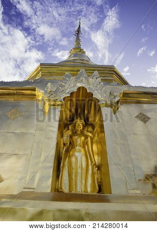 Buddha Statue in Phra Singh Temple Chiang Mai Thailand stock photo