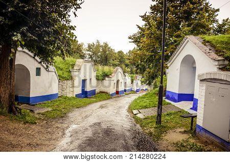 The street between wine cellars on Moravia.