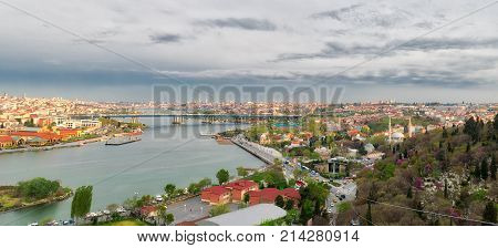 Istanbul Turkey - April 22 2017: Istanbul city view from Pierre Loti Teleferik station overlooking Golden Horn Eyup District Istanbul Turkey