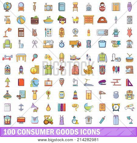 100 consumer goods icons set. Cartoon illustration of 100 consumer goods vector icons isolated on white background
