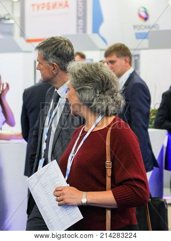 St. Petersburg, Russia - 3 October, Business woman at the gas forum, 3 October, 2017. Participants and visitors of the annual St. Petersburg Gas Forum.