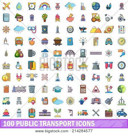 100 public transport icons set. Cartoon illustration of 100 public transport vector icons isolated on white background