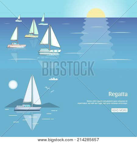Yacht club flyer design with sail boat. Luxury yacht race, sea sailing regatta banner vector illustration
