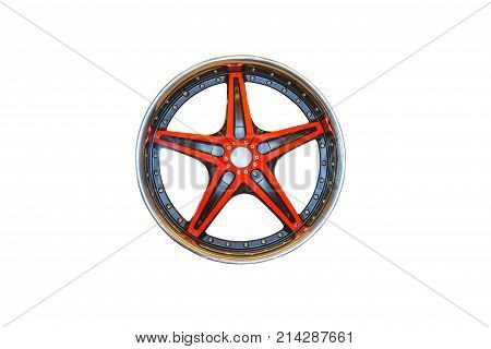 red Alloy Wheelsisolated on white background with clipping path.