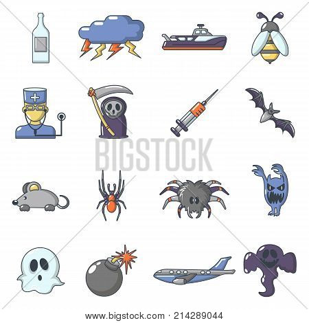 Fears phobias icons set. Cartoon illustration of 16 fears phobias vector icons for web