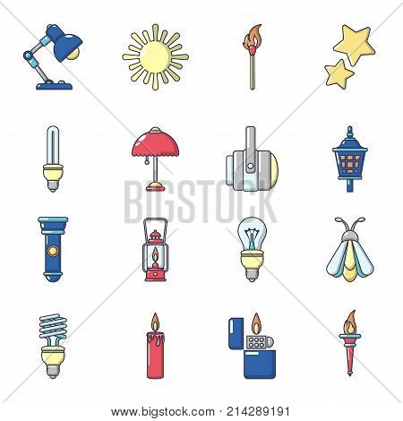 Light source icons set. Cartoon illustration of 16 light source vector icons for web