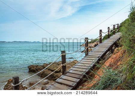 Wooden walkwayKhao Laem Ya-Mu National Park in Rayong Thailand. The beautiful sea in thailand
