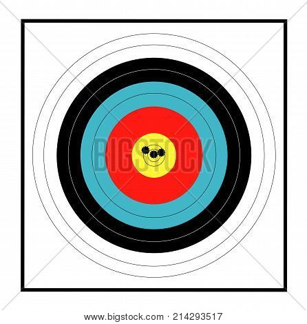 A target with a grouping of bullet holes close to the bulls eye
