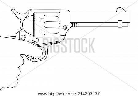 An isolated hand with the finger pulling the trigger of a six gun.