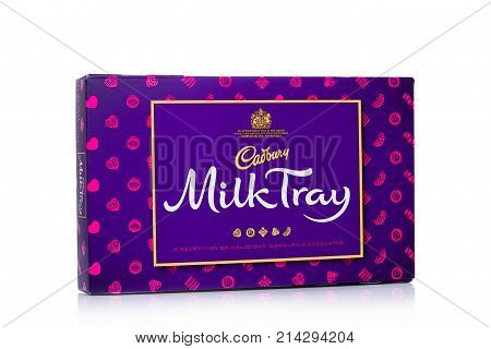 London, Uk - November 17, 2017:  Box Of Milk Tray Chocolates On White, Made By Cadbury Since 1915