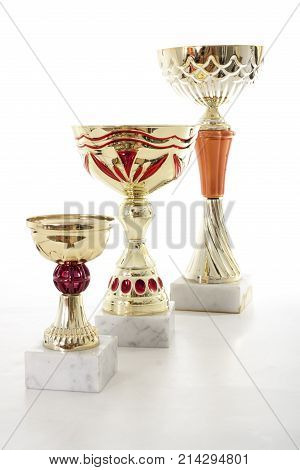 Trophy isolated with white background. Winner award of Champion. Gold trophy victory succes prize. Golden.