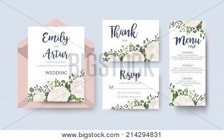 Wedding invite invitation menu thank you rsvp card vector floral design: white garden Rose ranunculus flower eucalyptus forest fern mistletoe leaves & blue berries. Watercolor tender elegant set