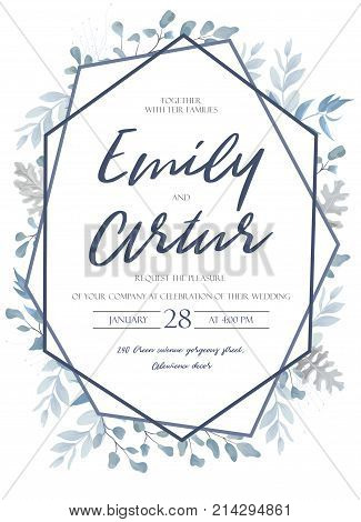 Wedding invite invitation save the date card design with light watercolor blue color dusty leaves fern greenery forest herbs plants & geometric frame. Vector tender rustic postcard editable layout