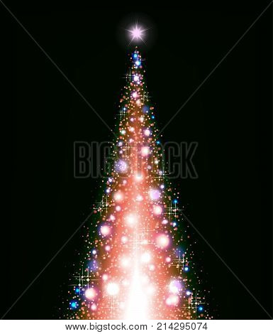 Christmas multicolored Christmas tree on a black background and lots of brilliance