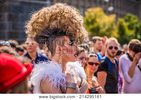 PRAGUE, CZECH REPUBLIC - AUGUST 16, 2014: Participant of the Prague Pride Parade, a festival of tolerance and against homophobia in Czech Republic.