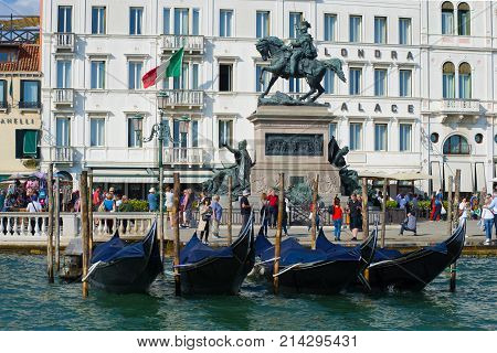 VENICE, ITALY - SEPTEMBER 26, 2017: Monument to King Victor Emmanuel II on the Slavyanskaya Embankment