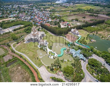 Wat Non Kum Temple building in Thailand. Beautiful Temple Thailand. Thailand is famous temple. Thailand is a tourist. Unseen Thailand Temple. The splendor of the temple Thailand. Temple aerial view