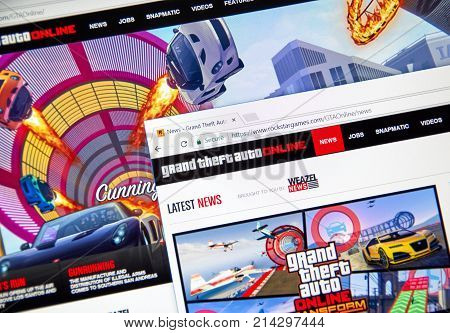 MONTREAL CANADA - NOVEMBER 7 2017: Grand Theft Auto Online home website. The game is a persistent open world online multiplayer video game developed by Rockstar North and published by Rockstar Games