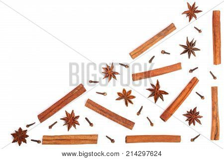 star anise cinnamon sticks and clove isolated on white background with copy space for your text, pattern flat lay, top view.