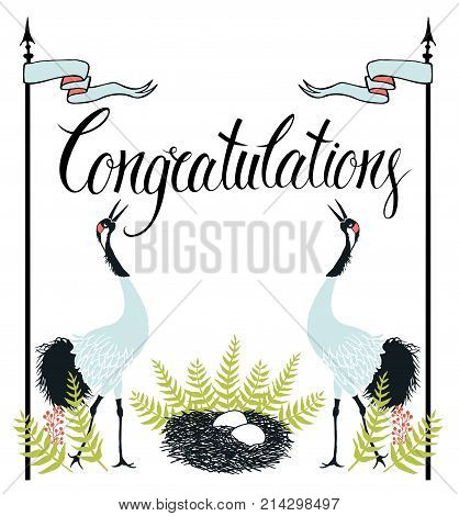 Congratulations card with Common Cranes fern and nest. Calligraphy and hand drawing