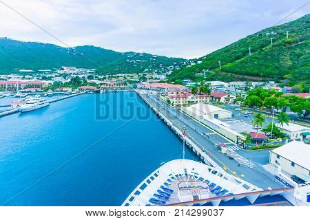 Aerial view of the island of St Thomas, USVI. Charlotte Amalie. View from cruise ship.