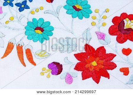 Embroidery. Hand work hobby patchwork closeup photo. Floral flower pattern.