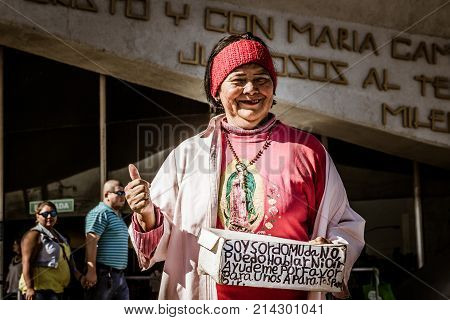 Smiling Woman In Basilica Of Guadalupe