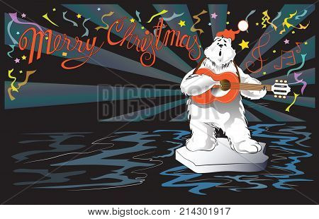 Polar Bear playing guitar and singer in night party cartoon acting character design for Christmas and New year card vector isolate on white has clipping paths.