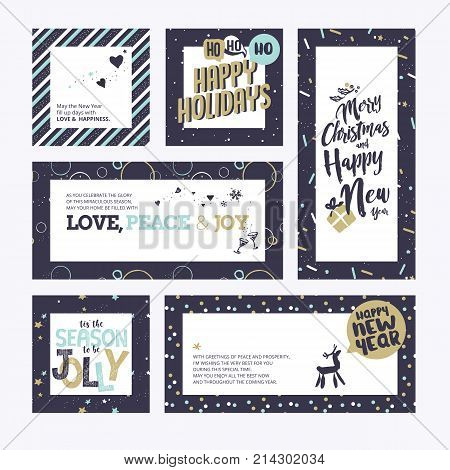 Christmas and New Years greeting cards collection. Flat design vector illustration concepts for greeting cards, web banner, flayer brochure, party invitation card.