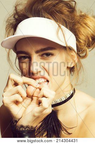 Angry Pretty Girl Piercing Lip