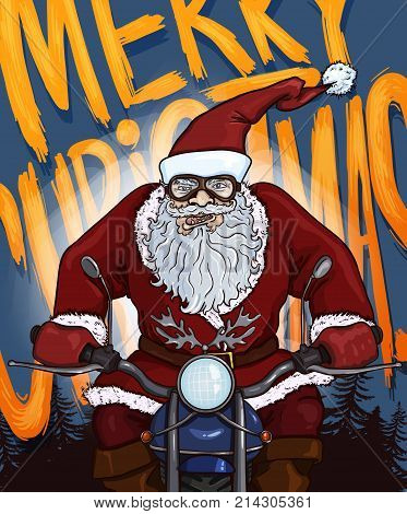 Vector Cartoon Postcard - Biker Santa Claus on Motorcycle with Text - Merry Christmas on Background