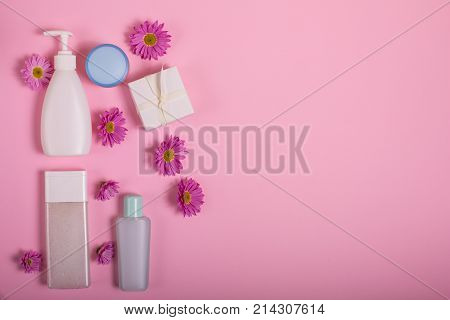 Cosmetics On A Pink Background