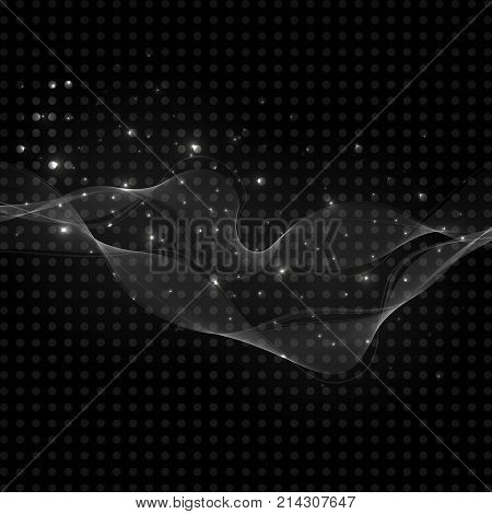 Vector abstract shiny transparent elemen. Vector design with glitter effect. Abstract background technology. Vector digital design. Retro template.