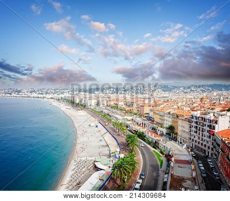 cityscape of Nice with beach and sea from above at sunrise, cote dAzur, France, retro toned