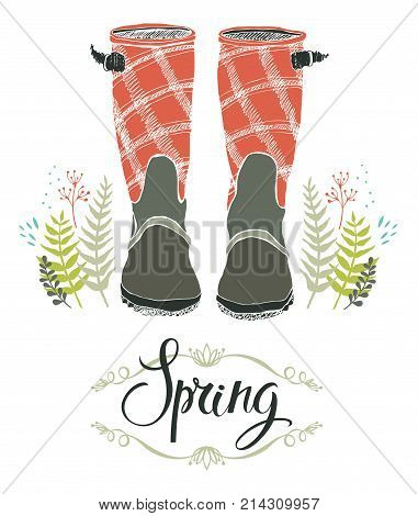 Rain boots and spring forest grass design card with calligraphy